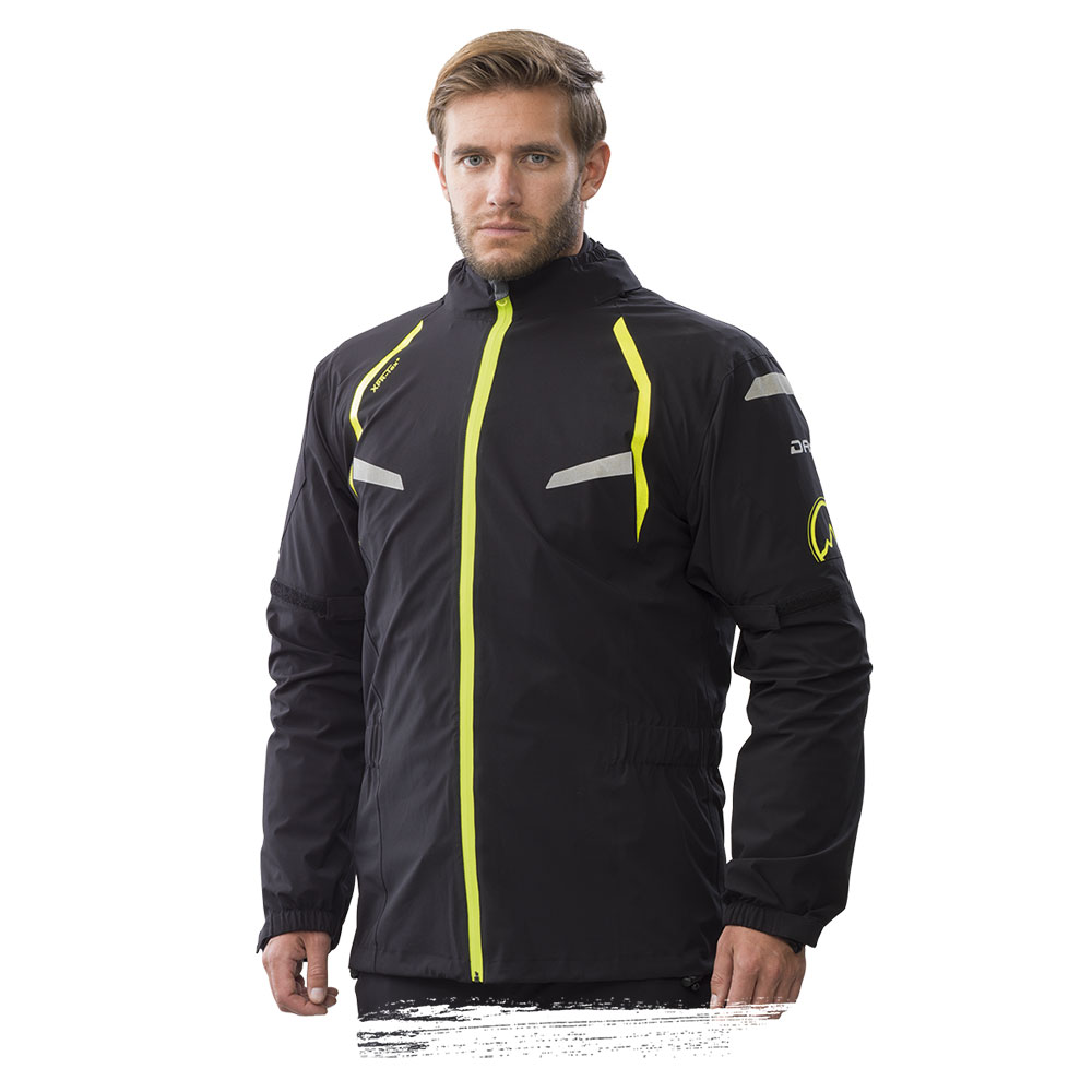 Adventure Bike Shop Dane Byge Black Rain Jacket front