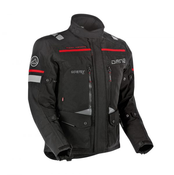 Adventure Bike Shop Dane Sealand Black with red highlights Adventure Motorbike Jacket front